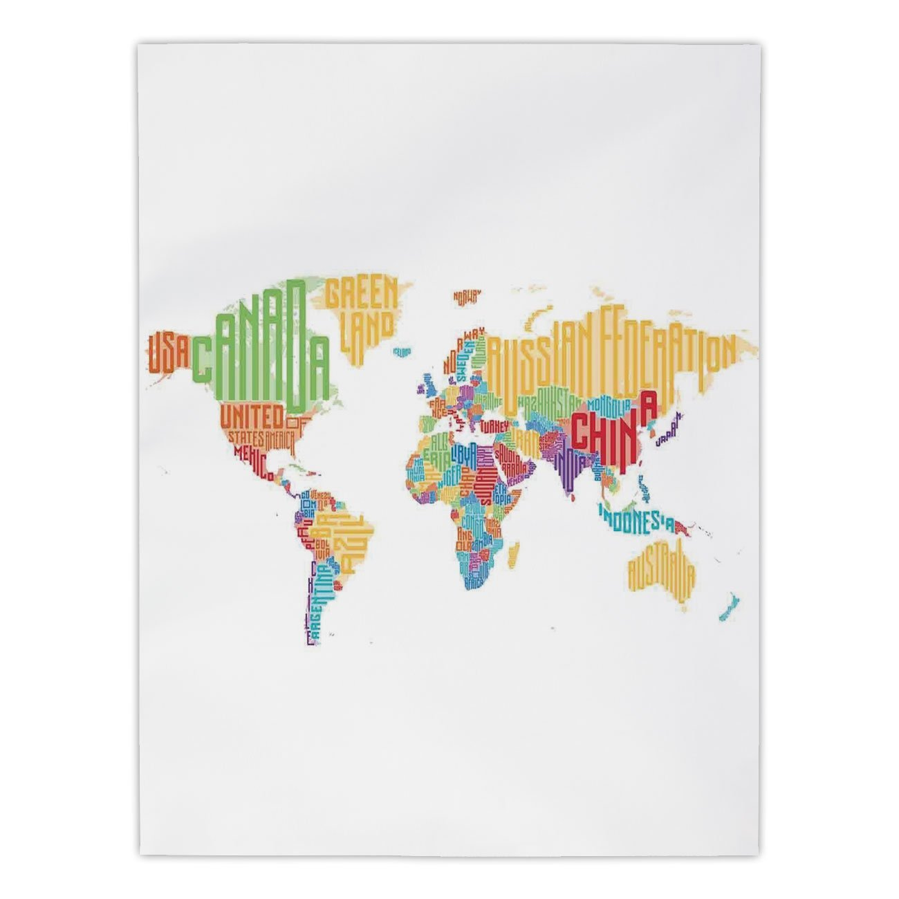 Polyester Rectangular Tablecloth,World Map,Colorful High School Classroom Map With Names Of Countries Teen Room Decor Print,Multicolor,Dining Room Kitchen Picnic Table Cloth Cover,for Outdoor Indoor