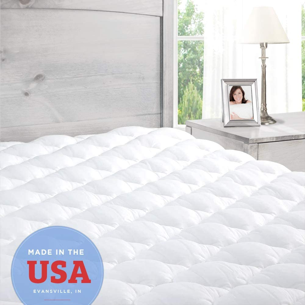 ExceptionalSheets Pillowtop Mattress Topper with Fitted Skirt - Extra Plush Pad Found in Marriott Hotels - Made in The USA, Twin XL Size