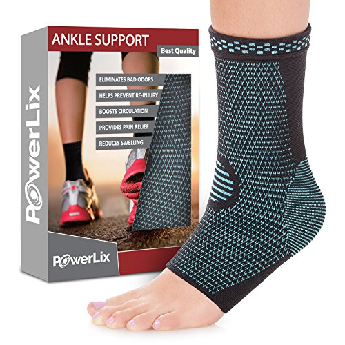 (POWERLIX Ankle Brace Compression Support Sleeve (Pair) for Injury Recovery, Joint Pain and More. Plantar Fasciitis Foot Socks with Arch Support, Eases Swelling, Heel Spurs, Achilles Tendon)