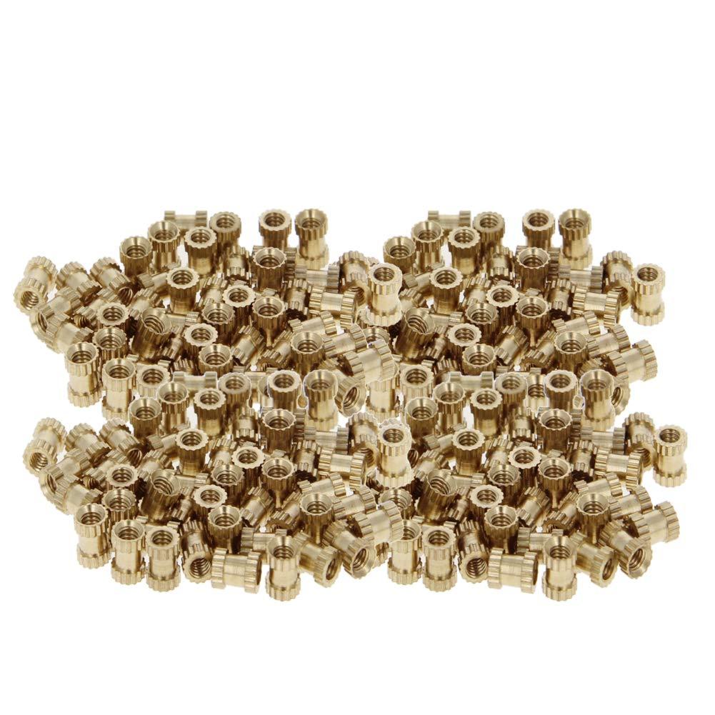 M2.5 x 5mm L x 3.8mm OD Female Thread Brass Embedment Assortment Kit 200PCS MroMax Knurled Insert Nuts