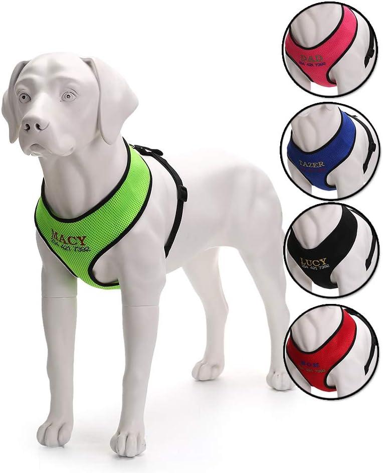 Oncpcare - Arnés de perro con nombre, bordado con número de teléfono para mascotas, collar de identificación personalizado de malla suave acolchado para perros: Amazon.es: Hogar