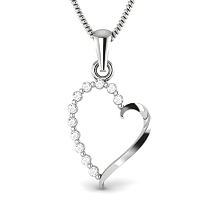 Amazon round natural diamond accent 10k white gold love heart round natural diamond accent 10k white gold love heart promise pendant chain not included aloadofball Choice Image