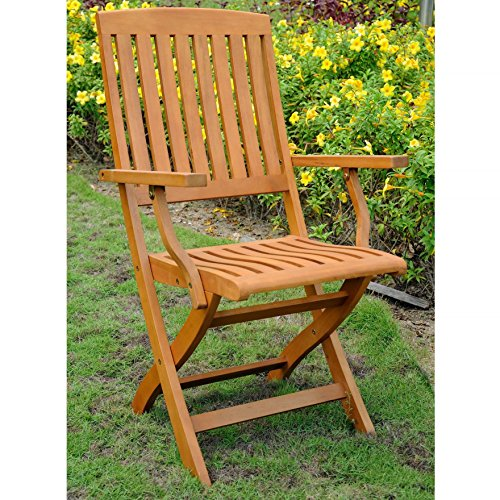 Set of 2 Traditional Country-Style Neutral Patio Furniture Outdoor Folding Dining Armchair Crafted From High Grade Solid Balau Hardwood in Natural Wood (Balau Solid Wood)