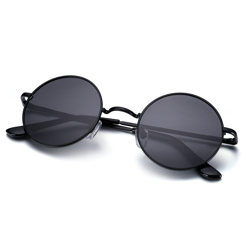 Menton Ezil Circle Classic Metal Frame Sunglasses Polarized Mens Driving Glasses UV400