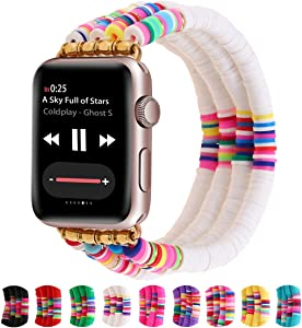 Betykuku Compatible with Apple Watch Bands 38mm/40mm Series 5/4 Women Girl, Cute Handmade Fashion Stack Rainbow Vinyl Disc Bead Compatible for Apple iWatch Series 5/4/3/2/1 (White, 38/40)