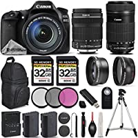 Canon EOS 80D Wi-Fi Full HD 1080P Digital SLR Camera + Canon 18-135mm IS STM Lens + Canon 55-250mm IS STM Lens. All Original Accessories Included - International Version