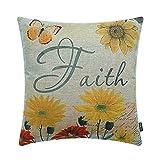 TRENDIN 18'' X 18'' Vintage Yellow Flowers Faith Linen Throw Pillow Case Cushion Cover Home decor(PL127)