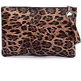 by you Women Faux Fur animal Leopard Print Clutch Pouch Wristlet Purse Bag