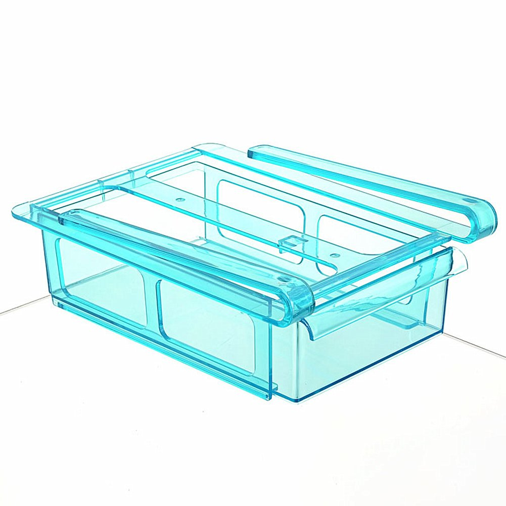 Multipurpose Fridge Drawer Storage Morbuy 1PC Sliding Drawer Freezer Storage Shelf Refrigerator Organizer Kitchen Refrigerator Fridge Storage Rack Space Saver Shelf Blue