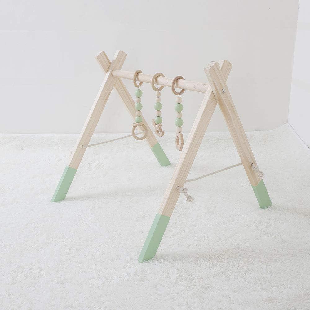 fessyc Wooden Baby Play Gym赤ちゃんアクティビティジムスタイリッシュな保育園赤ちゃん木製ジムスタンド
