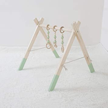 Wooden Baby Play Stand Nursery Fun Hanging Toys Mobile Wood Rack Activity Gym