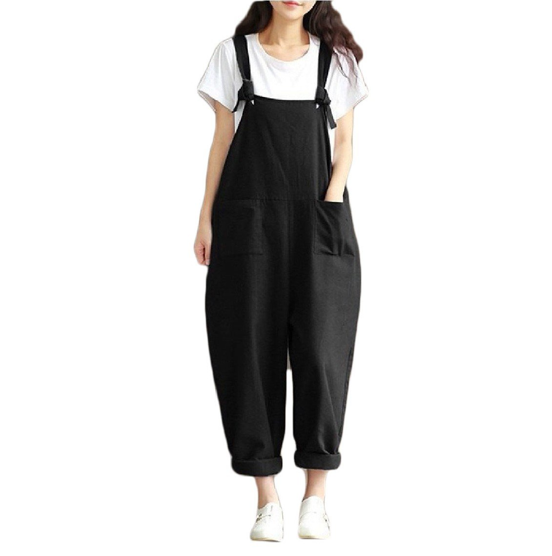 4f6e270d5d Amazon.com  Mfasica Women s Oversized Solid-Colored Pocket Vintage Rompers  Overalls  Clothing