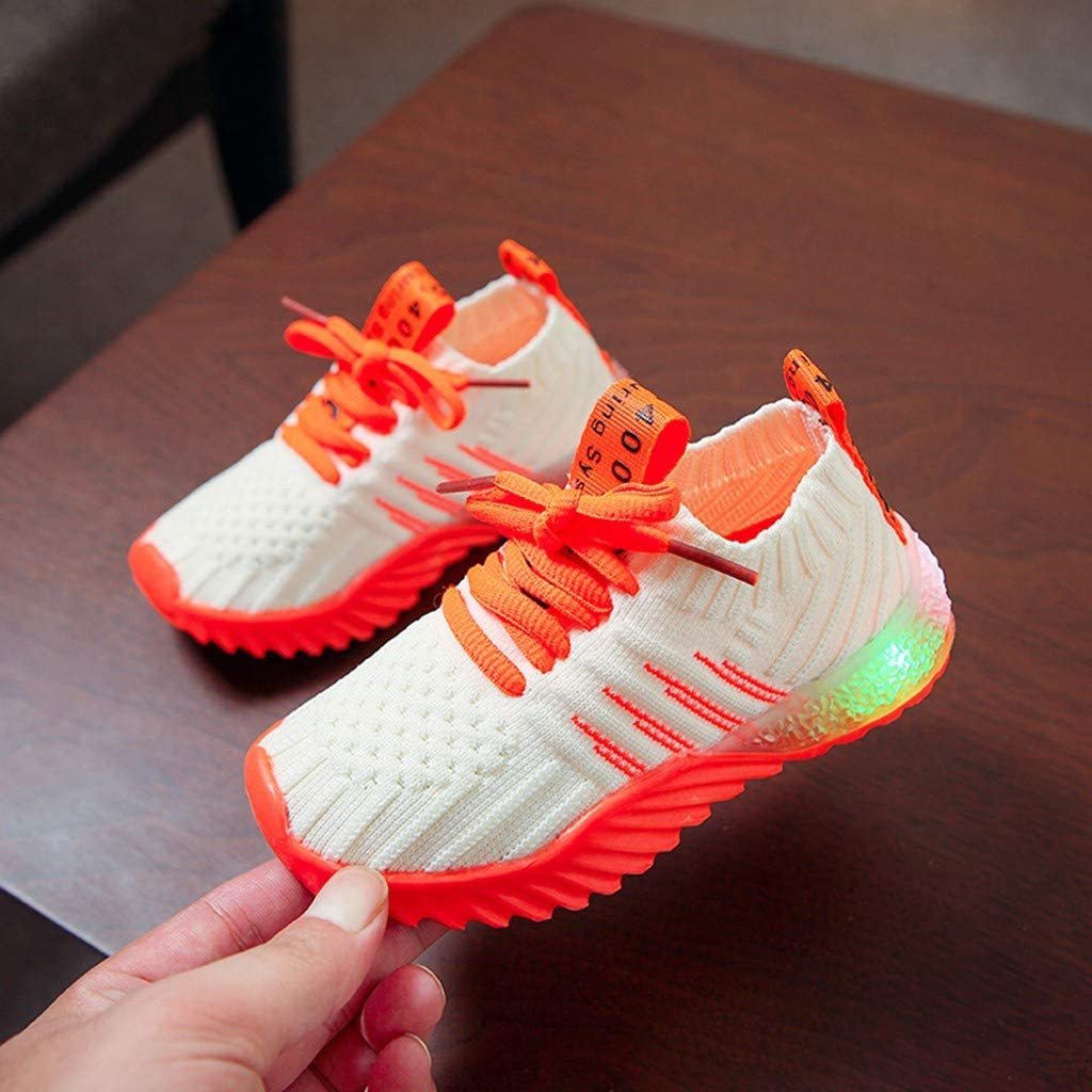 Toddler//Little Kid Alueeu Kids LED Slip on Sneakers Light Up Flashing Sneakers Girls Knit Comfortable Walking Shoes