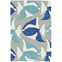 2x3 Aqua Blue Navy Blue Grey Seafish Sealife Printed Runner Rug, Indoor Outdoor Graphical Pattern Living Room Rectangle Carpet, Sea Beach Themed, Vibrant Fancy Color Soft Synthetic Material