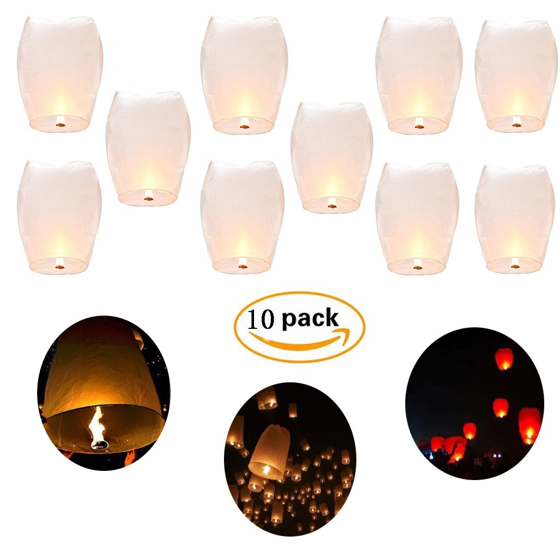 Sky Lanterns,Shellvcase 10Pcs Fly Sky Wish Paper,Fully Assembled, 100% Biodegradable,New Designed Environmentally Fly Paper,Great for Birthdays, Holidays, Weddings, Memorials, 4th of July by Shellvcase