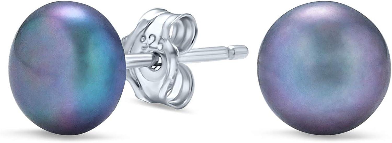 Básico simple perla bola de agua dulce perlas pendientes para las mujeres para adolescentes 925 plata de ley 7MM más colores