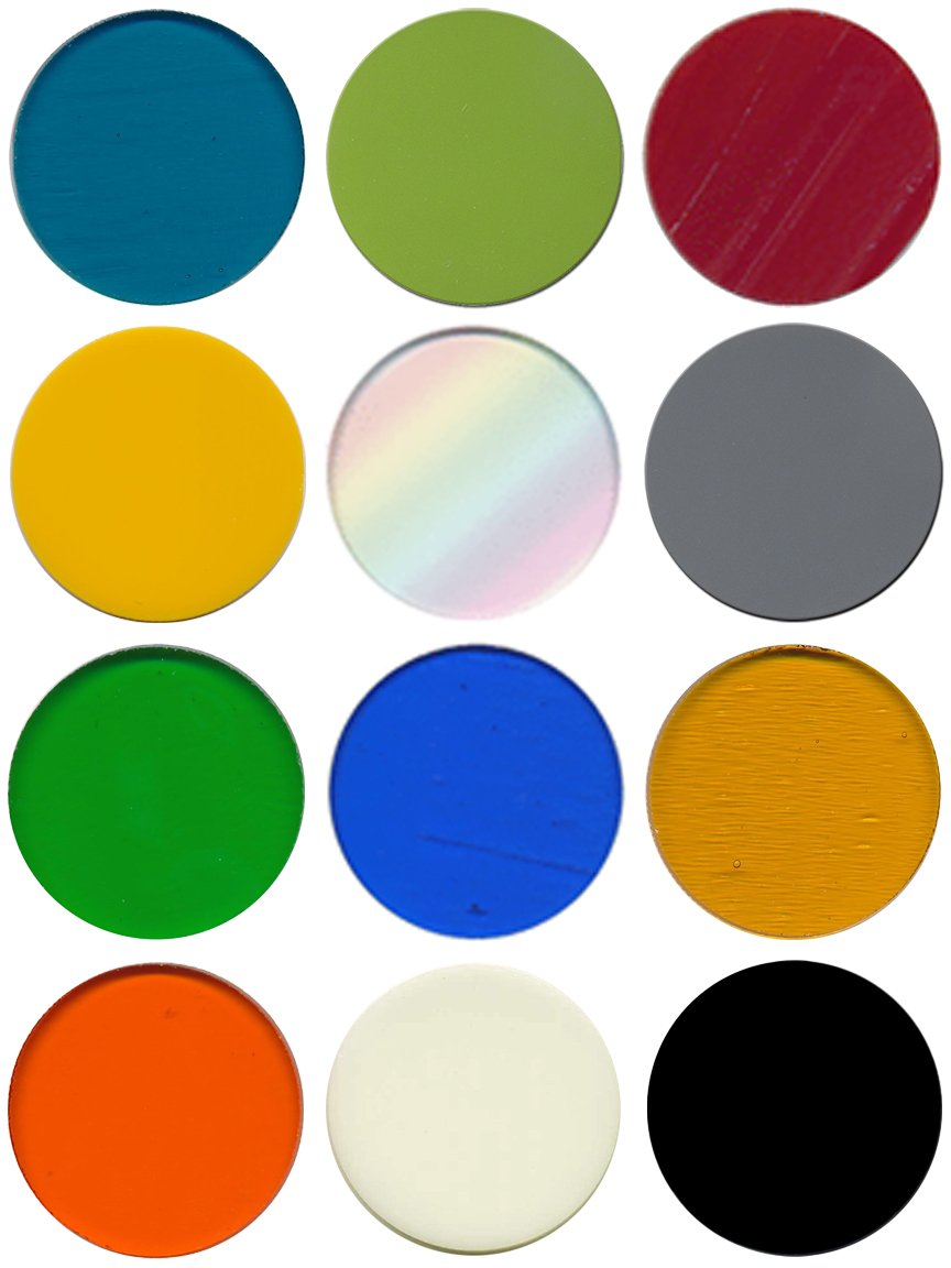 Pre-Cut 1-Inch Fusible Glass Circle Multi Colors, 96 COE, 12-Pack - The Essential Jewelers Sampler Pack by New Hampshire Craftworks