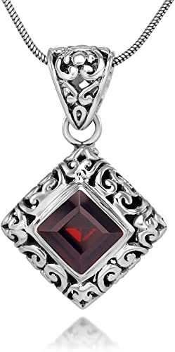 Silvershake Genuine Gemstone 925 Sterling Silver Filigree Pendant with 18 Inches Chain Necklace