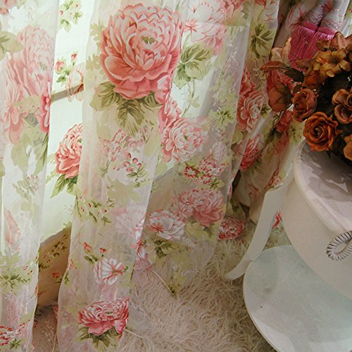 Rod Pocket Sheer Curtain, Elegant 2 Pieces - Total Size 120 Inch Wide (60 Inch Each Panel) - 84 Inch Long, Natural Light Flow, Pink Flower