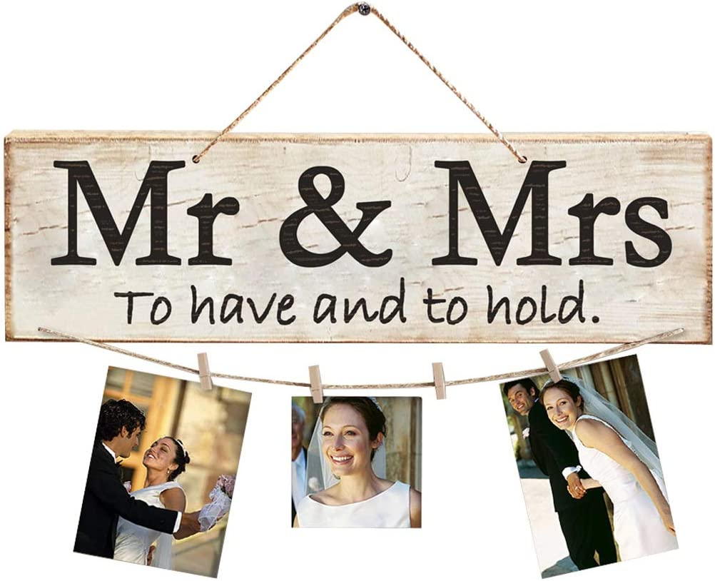 XHWYD Mr. & Mrs. Wooden Sign,Rustic Wood Wall Decor,Mr. & Mrs. Photo Wall,Mr. & Mrs. Hanging Sign,Newlywed Gift/Decoration,Large - Wedding Gift/Decoration.