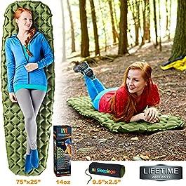 Sleepingo Camping Sleeping Pad – Mat, (Large), Ultralight 14.5 OZ, Best Sleeping Pads for Backpacking, Hiking Air Mattress – Lightweight, Inflatable & Compact, Camp Sleep Pad
