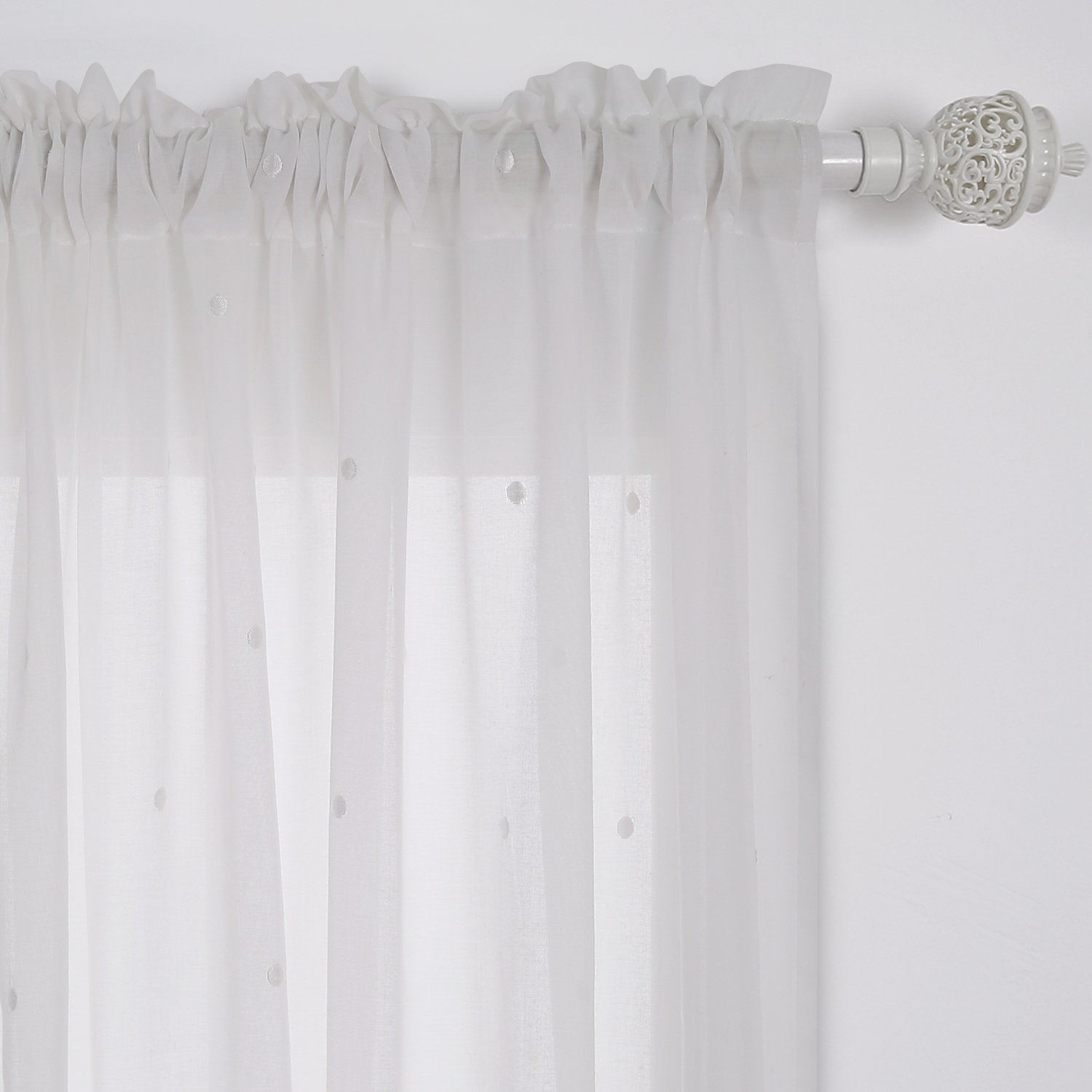Deconovo Curtains Embroidered White Dot Curtains Faux India Cotton White Rod Pocket Curtains 52W x 84L Inch White 1 Pair