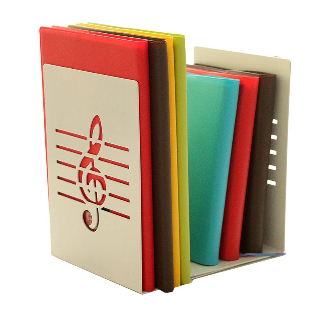 Winterworm Un paio di moda creative Music note Book supporto Reggilibri in metallo solido per bambini Music Lover Home Office decorazione White No Model