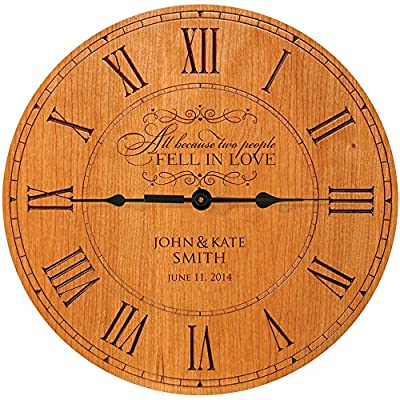 "LifeSong Milestones Wedding wall Clock or Custom Personalized wedding anniversary housewarming gift All because two people fell in Love (Cherry) - Laser engraved Verse ALL BECAUSE TWO PEOPLE FELL IN LOVE"" Made in USA Measure 12""X12"" X 1.5"" Exclusively designed by LifeSong Milestones Built in Easel for tabletop display or Wall display with wall tooth hanger on back - wall-clocks, living-room-decor, living-room - 61 btiC0uPL. SS400  -"