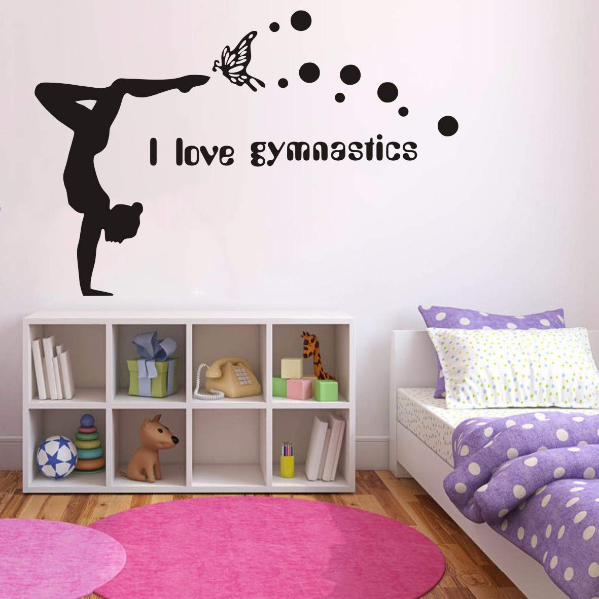 Girl Room Bedroom Wall Decor I Love Gymnastics Vinyl Wall Stickers Decal Girls Dance Gym Decor for Kids Room Nursery Bedroom Art Girl Bedroom Wall Decor Mural Yoga Stickers J860 (Black finsh110x65cm)