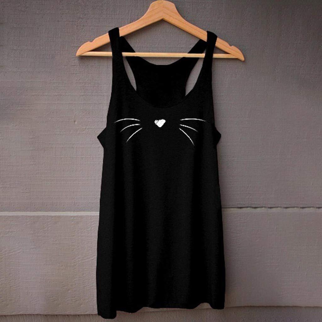 Kiminana Women Sleeveless Cat Face Shirt Casual Loose Tank Top Soft Comfortable Fitness Tops