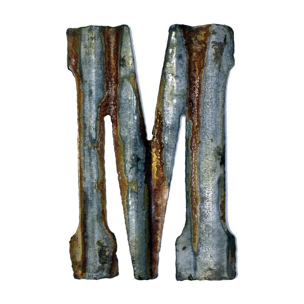 Custom Cut Decor 8'' Rusty Galvanized Corrugated Metal Letter -M