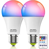 HaoDeng 10W A19 E27 (90W Equivalent) 800Lumens WiFi & Bluetooth & Remote 3in1 RGBCW WiFi LED Smart Bulb - Dimmable…