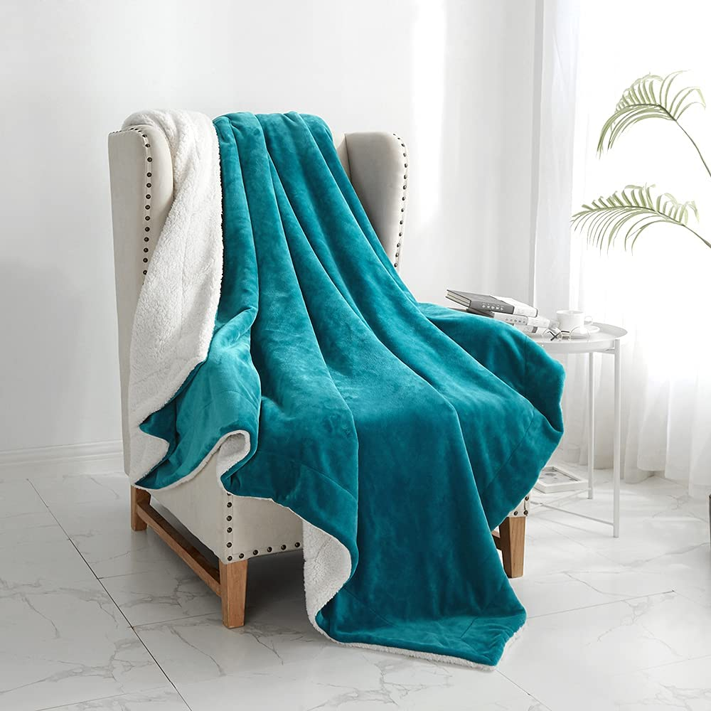 """Walensee Sherpa Fleece Blanket (Twin Size 60""""x80"""" Teal) Plush Throw Fuzzy Super Soft Reversible Microfiber Flannel Blankets for Couch, Bed, Sofa Ultra Luxurious Warm and Cozy for All Seasons"""