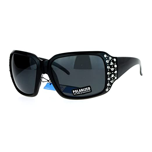 46e96b1d13c SA106 Polarized Lens Oversize Rhinestone Bling Iced Out Womens Sunglasses  All Black