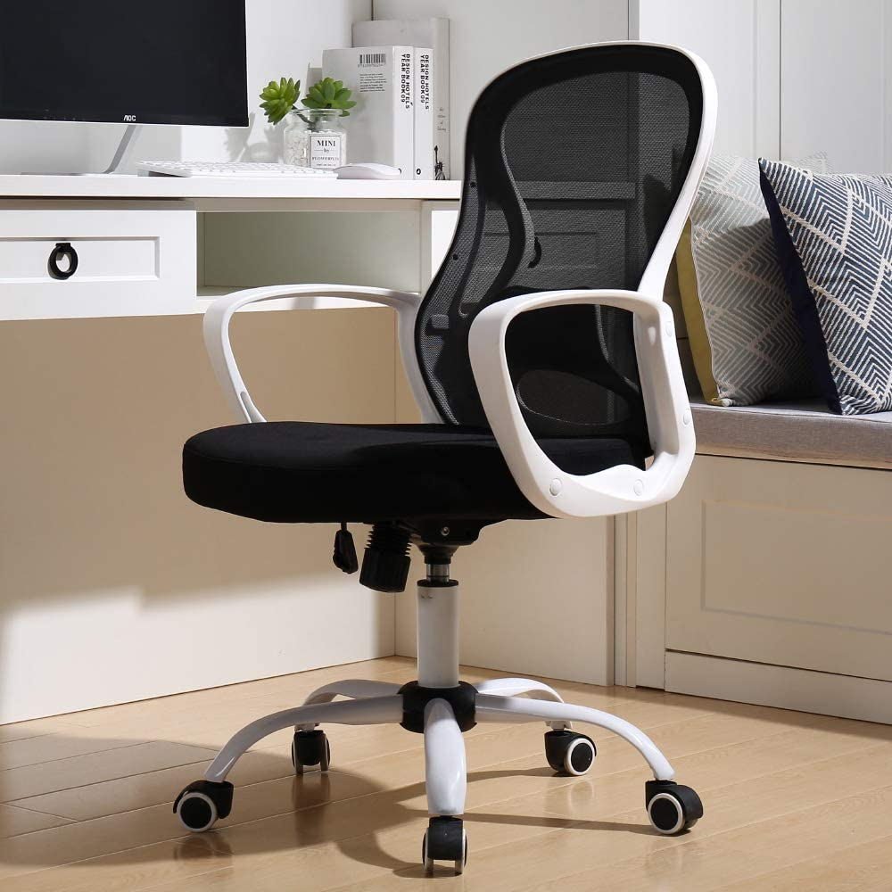 BERLMAN Ergonomic Mid Back Mesh Office Chair Adjustable Height Desk Chair Swivel Chair Computer Chair with Armrest Lumbar Support