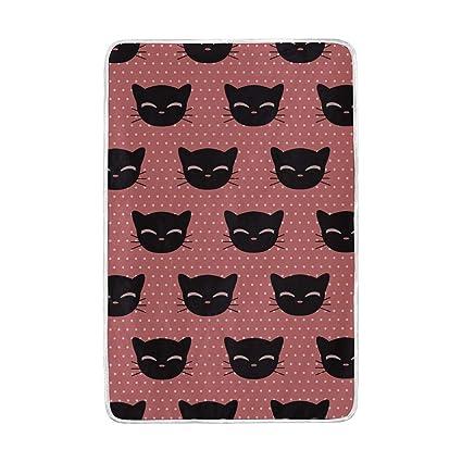 Mnsruu - Manta de Cama Grande, poliéster Suave, diseño de Gatos Negros para sofá