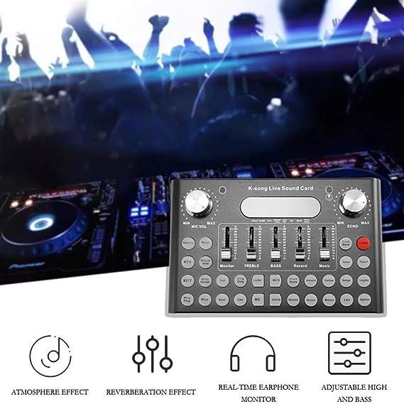 QWERTOUY USB de la Tarjeta de Sonido Profesional Micrófono música ...