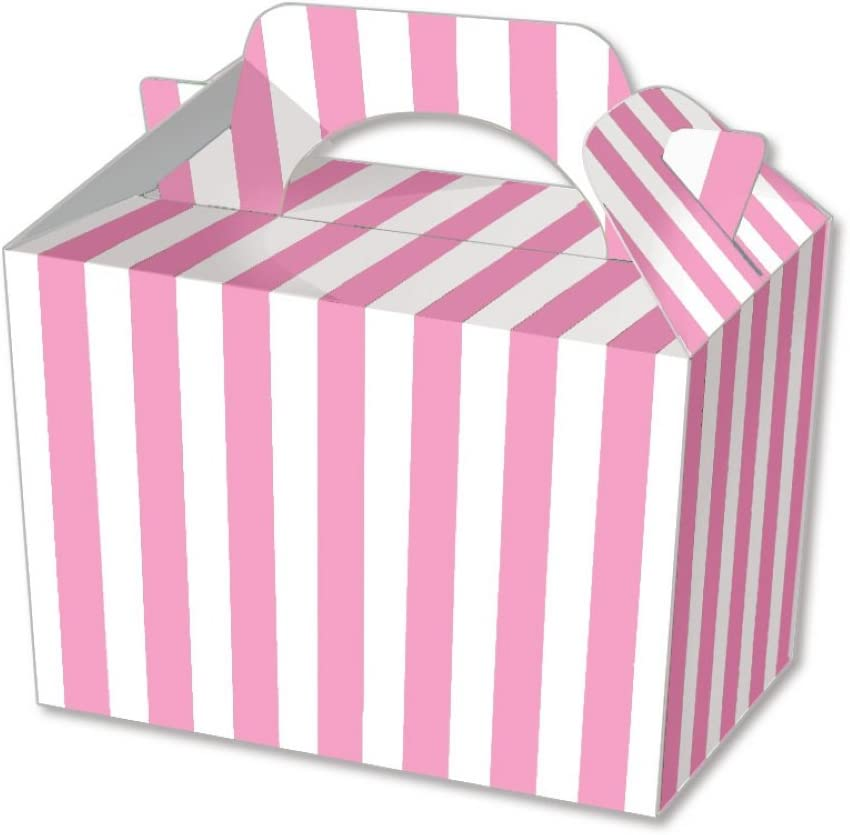 10 x Baby Pink Stripe Designs Kid Childrens Plain Activity Food box