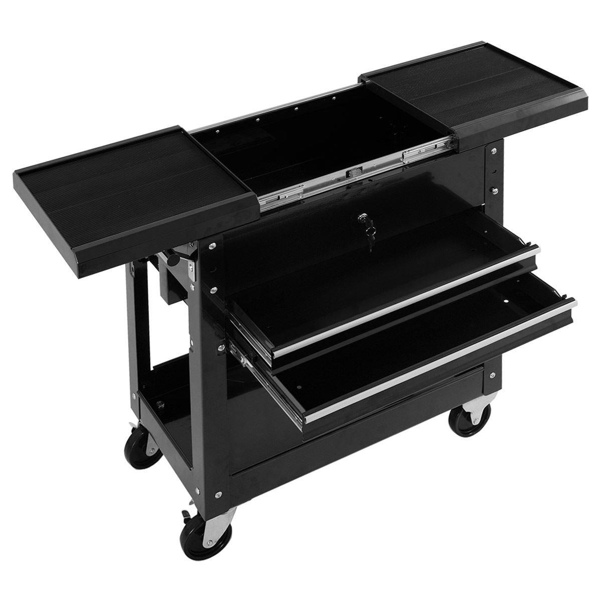Goplus Rolling Tool Cart Mechanics Slide Top Utility Storage Cabinet Organizer 2 Drawer