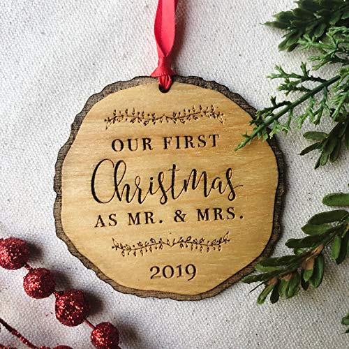 First Christmas as Mr & Mrs Ornament 2019, Rustic 1st Married Christmas Ornament, First Married, Laser Engraved Wooden Ornament, with Red Ribbon and Gift Box