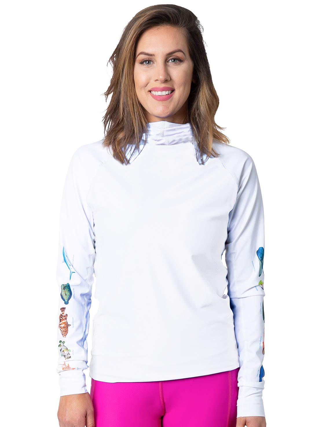 Tuga Women's Hooded Snorkel Rash Guard - Caribbean Fish ID (UPF 50+), White, Large by Tuga Sunwear