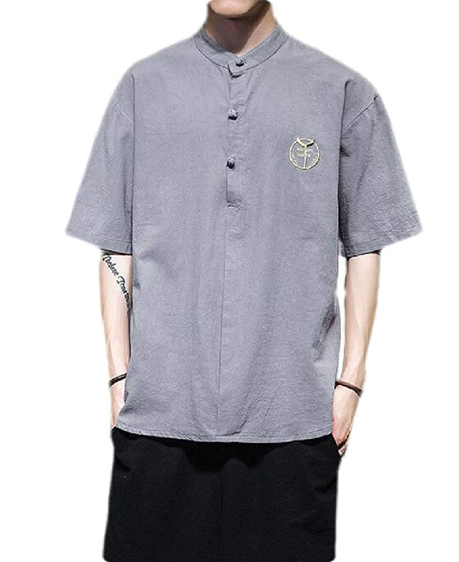 OTW Mens Button Up Stand Collar Casual Short Sleeve Chinese Style Shirts