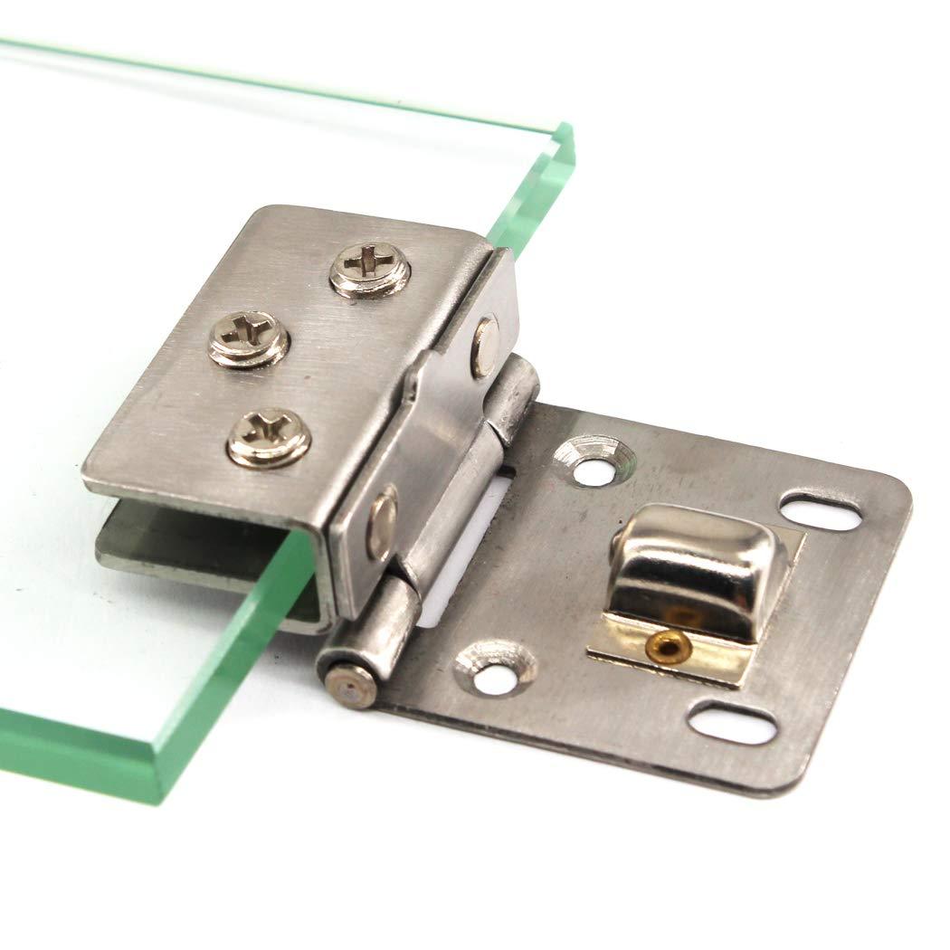 Kit de bisagras para puerta de cristal de aleaci/ón de zinc con bisagras de cristal y clip de sujeci/ón para puerta