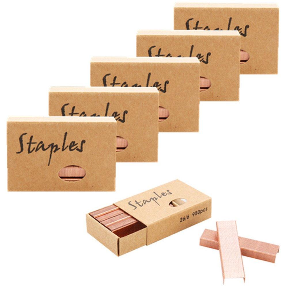 Ipienlee 26/6 Standard Staples, 12mm Width, 6 Box/Pack, 5700 Count, Rose Gold