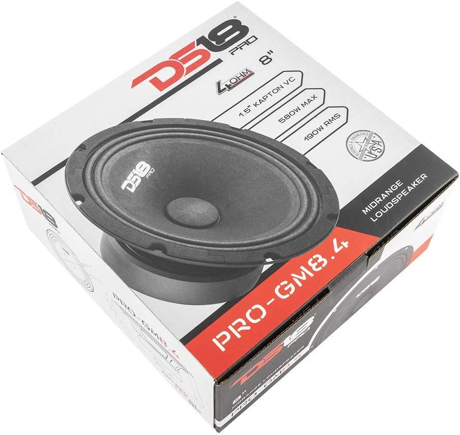 1 Speaker Midrange 8 4 Ohms DS18 PRO-GM8.4 Loudspeaker Premium Quality Audio Door Speakers for Car or Truck Stereo Sound System 190W RMS 580W Max Black Steel Basket