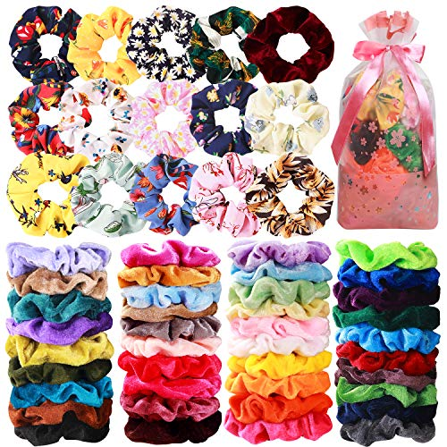 54 Pcs Hair Scrunchies 40 Velvet Hair Scrunchies 14 Chiffon Flower Hair Scrunchies Hair Elastic Scrunchy Ties Ropes Scrunchie for Women or Girls Hair Accessories for Christmas New Year Gift