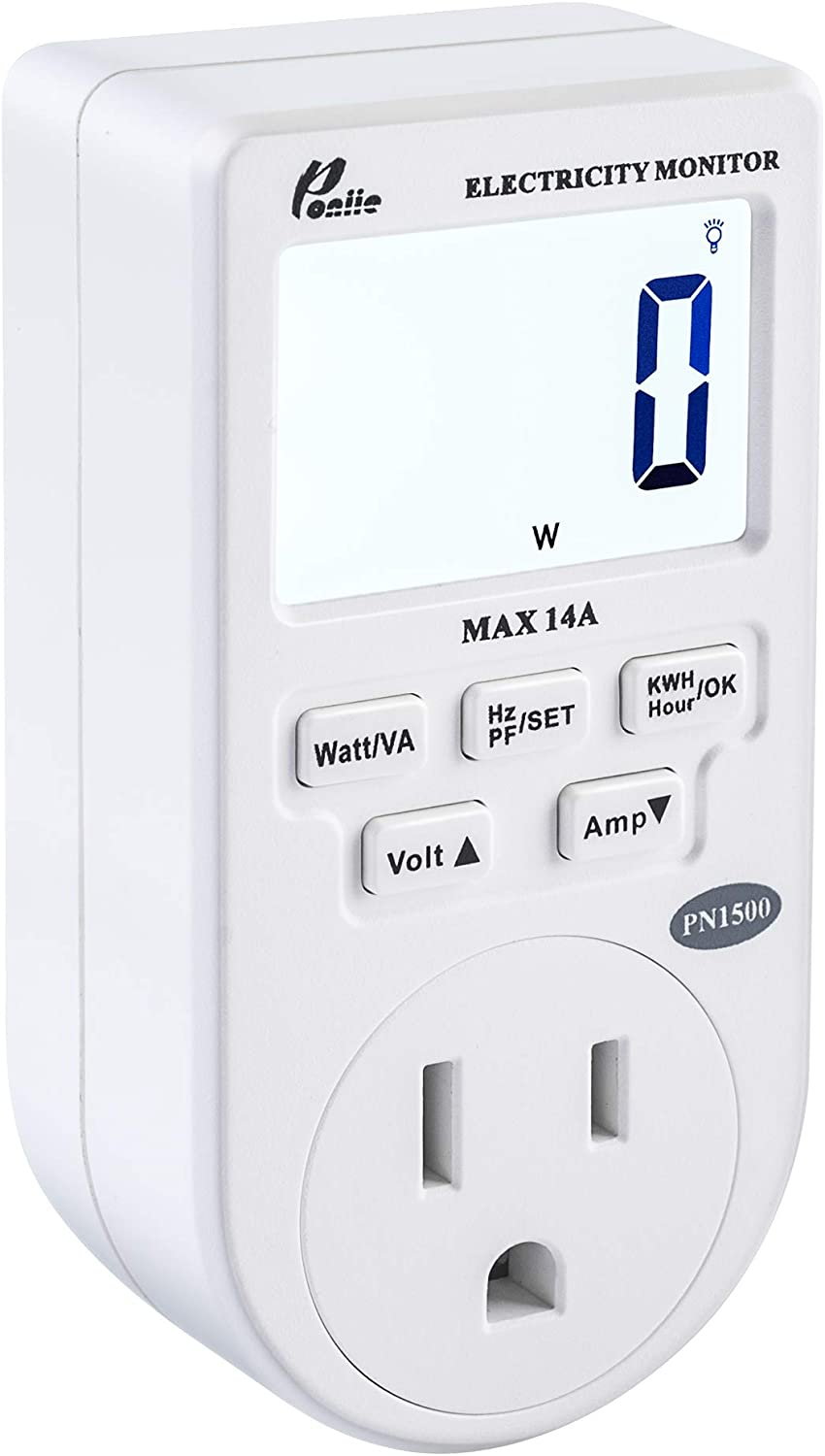Poniie PN1500 Portable Micro Electricity Usage Monitor Electrical Power Consumption Watt Meter Voltage Amp Tester (110V, 1500W))