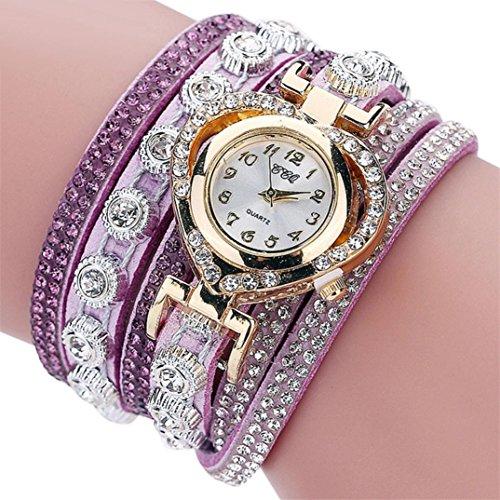 SINMA Women Vintage Heart-shaped Dial Watches Rhinestone Crystal Bracelet Analog Quartz Wrist Watch (Purple) Shaped Analog