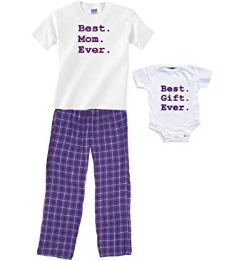 659b100c84c6 Amazon.com  Best Mom Ever PJ Pant Set and Baby Best Gift Ever Onesie ...