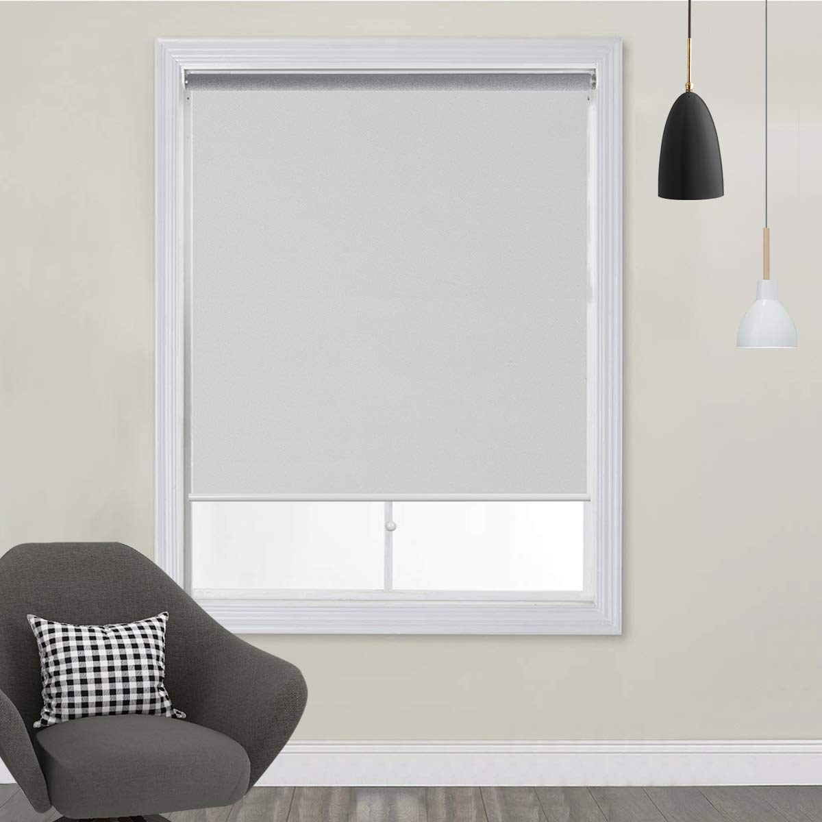 TFSKY Blackout Shades for Bedroom Outdoor Cordless Roller Blinds and Shades for Windows Blackout Window Blinds for Indoor & Outdoor Use, UV Protection with Spring System White, 48x72 by TFSKY